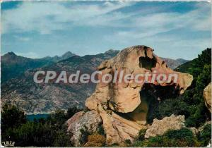 Postcard Modern Charm and colors of Corsica Calanche of Piana dog head