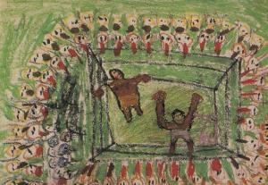 Saudi Arabia Boxers as Apes In The Ring Boxing Jeddah Painting Postcard