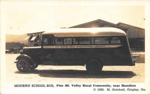 Hamilton GA Pine Mt. Valley Rural Community Modern School Bus RPPC Postcard