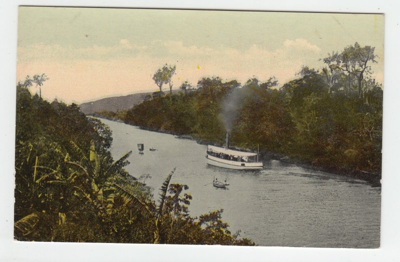 P1989, vintage postcard view boats canal forest etc panama canal unused