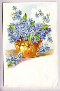 Gold Planter with Small Blue Flowers, Pub, Saxony