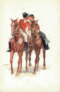 Artist Signed - Usabal Romantic Couple Kissing on their Horses  04.50