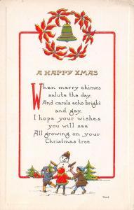 Christmas~Children Dance Around Snowman~Red Gold Embossed on White Back~Embossed