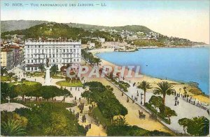 Postcard Old Nice panoramic view of the garden