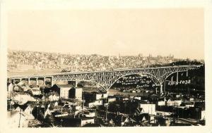 Birdseye Mt Rainier Memorial Bridge 1930s Seattle Washington RPPC 12298 Ellis