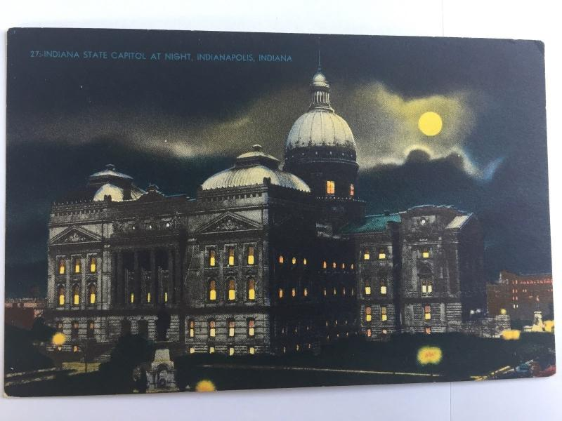 Indianapolis Indiana State Capitol at Night Vintage Postcard