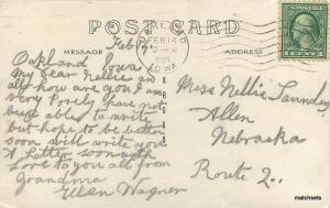 1923 Oakland Iowa Street Scene RPPC Real Photo postcard 6296 autos