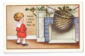 Christmas Boy Hangs Basket on Fireplace for Santa ca 1915