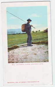 P1228 old unused postcard fishing sam barton, a noted adirondack guide new york