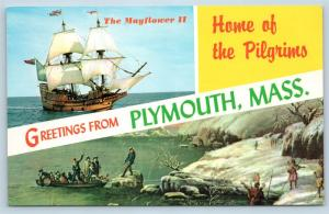 Postcard MA Banner Dual View Greetings From Plymouth Mass Vintage O16