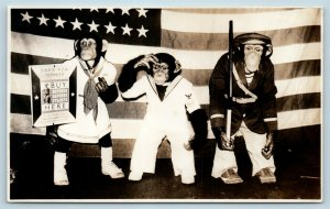 Postcard Dressed Monkeys Sailor Uniforms War Bonds Saving Stamps Photo RPPC T1