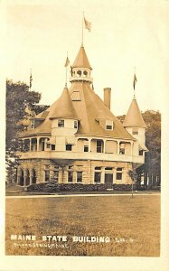 Poland Spring ME Maine State Building Chicago World's Fair Real photo Postcard