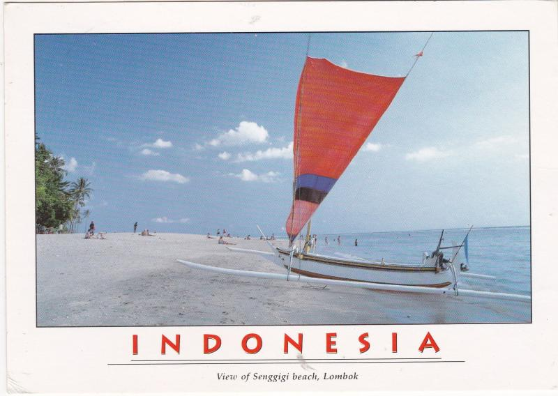 Postcard Indonesia Lombok Sengiggi Beach