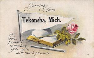 Tekonsha MI Fountain Pen Next to Book~Rose Covers Pages~Pennant Greetings 1914