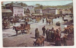 P855 old card irish fair many donkeys/mules and carts people neat card