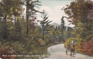New Hampshire North Conway Road To White Horse LOdge and echo Lake Showing Mo...