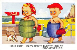Vintage Comic Joke Postcard, Home Soon We've Spent Everything at Broadstairs DQ3