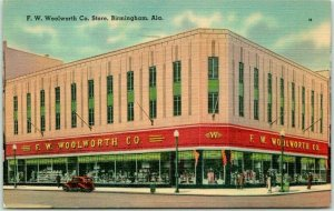 1948 Birmingham, Alabama Postcard F.W. WOOLWORTH CO. STORE Street View Linen