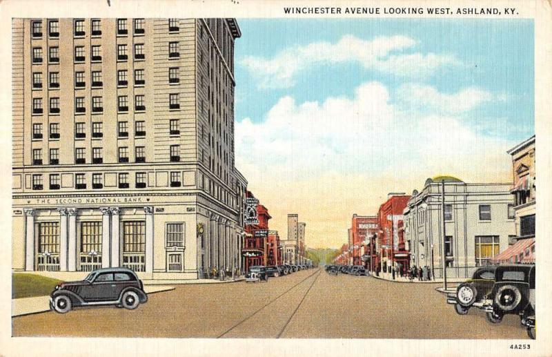 Ashland Kentucky Winchester Ave Looking West Linen Antique Postcard K12402
