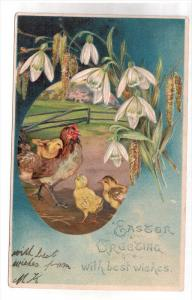 EASTER; Greeting and best wishes, Hen and chicks, Lillies, PU-1906