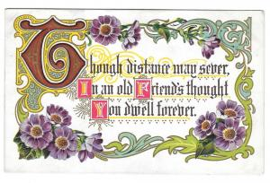 Friendship Motto Postcard Illuminated Letters Embossed Gold