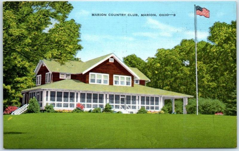 Marion, Ohio Postcard MARION COUNTRY CLUB Clubhouse Golf Course Kropp Linen