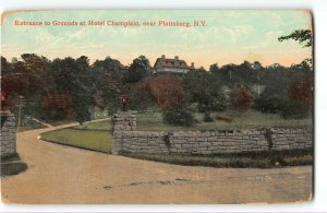 Entrance to Grounds at Hotel Champlain, Plattsburgh, New York - 1908 Postcard