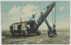 Old DVB Postcard Steam Shovel in River Bed Lime Kiln Crossing, Detroit River, MI