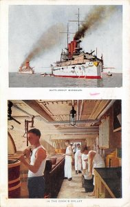 Military~Navy Battleship Missouri~Split Vw~Steamer~Sailors in Cook's Galley~1913