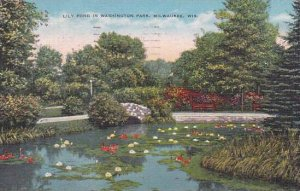 Wisconsin Milwaukee Lily Pond In Washington Park 1952