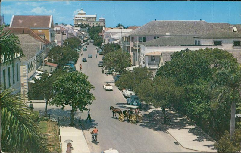 Nassau Bahamas Bay Street street looking down horese carriege cars