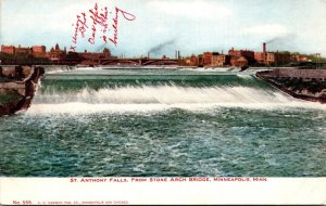 Minnesota Minneapolis St Anthony Falls From Stone Arch Bridge