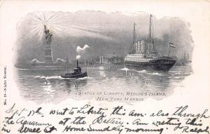 Statue of Liberty, Bedloe's Island, N.Y. Harbor, Early Postcard, Used in 1907