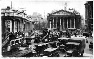 London Royal Exchange and Bank Vintage Cars Voitures Auto 1928