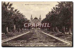 Old Postcard Monte Carlo Gardens and Casino