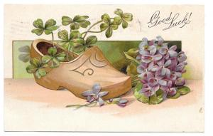 Good Luck Wooden Dutch Shoe Shamrocks Forget Me Not Postcard