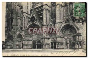 Old Postcard Bourges Cathedral Portal
