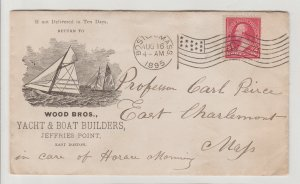 Wood Bros Yacht & Boat Builders Boston~Antique 1895 Envelope & Letter by Wood