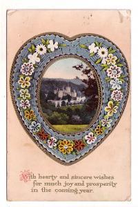 Blue Heart of Flowers with Castle Scene, Joy and Prosperity, Saxony, Hand Wri...