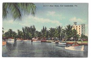New River Fort Lauderdale FL Boats Yachts Dock Champ Carr Hotel Linen Postcard
