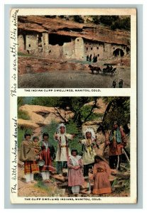 Vintage View of The Cliff Dwelling Indians, Manitou CO c1924 Postcard L21