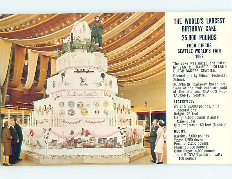 1962 Postcard BIRTHDAY CAKE AT WORLD FAIR Seattle Washington WA HM4434 HipPostcard