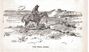 Charlie Russell, The Trail Boss undivided back, pre-1908