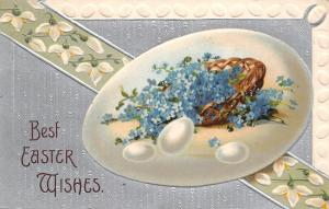 Easter~Forget-Me-Nots Basket in Lime Egg~Snowdrop Lily Banner~Egg Border~Silver
