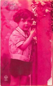 Bonne Fete, Anniversary child enfant flowers, fleurs CPA