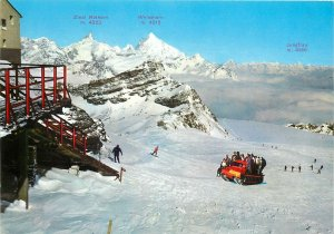 Postcard Italy Cervinia Plateau Rosa m. 3500 Versant towards Zermatt snowmobile