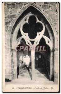 Old Postcard Perros Guirec Porch of the Church