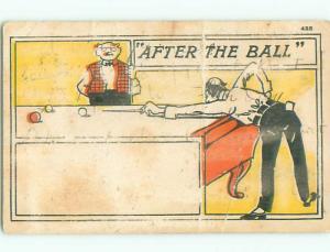Pre-1907 comic MAN SHOOTING BILLIARDS AT POOL HALL k6918
