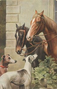 Horses & dogs signed C. Reichert early postcard