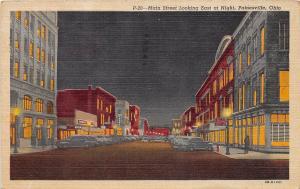 D36/ Painesville Ohio Postcard Lake County 1963 Linen Main Street Night Stores
